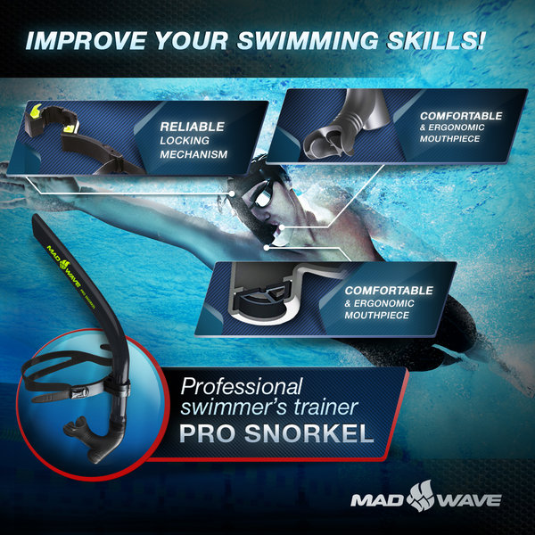 MAD WAVE RURKA CZOŁOWA SNORKEL TRAINER PRO BLACK M077301001W